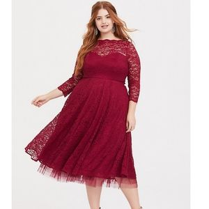 SPECIAL OCCASION RED WINE LACE MIDI DRESS